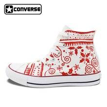 С Рождеством Христовым Дизайн Белые кеды Converse Для женщин Для мужчин марка все звезды ручная роспись парусиновая обувь оригинальный Chuck Taylor
