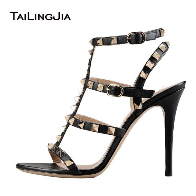 e986e49b4ab Women Sandals 2017 Black Summer Rivets High Heels Cool Girl Gold Studs  Sandals Ladies Stilettos Shoes For Party Dress Plus Size