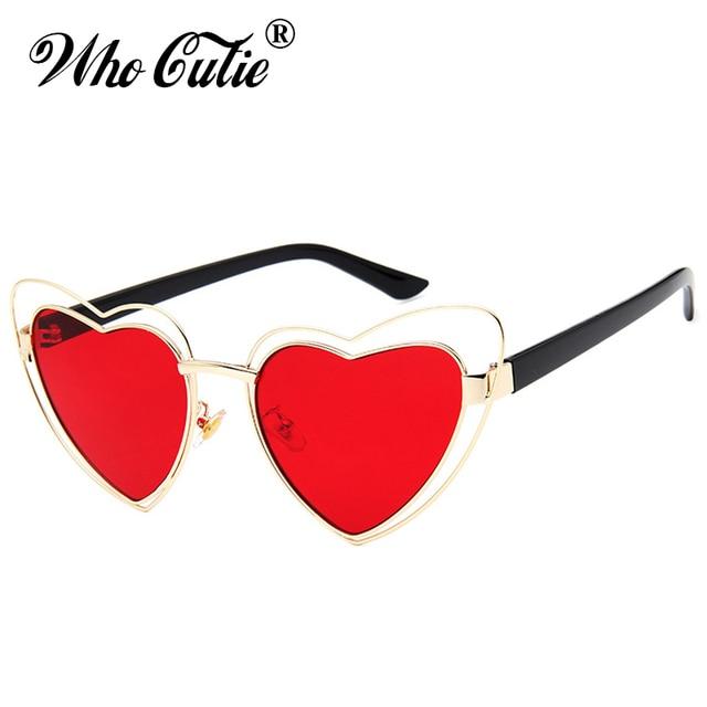 784f4991b4 WHO CUTIE 2018 Love Heart Shape Sunglasses Women Wire Metal Frame Vintage  Retro Cat Eye Sun