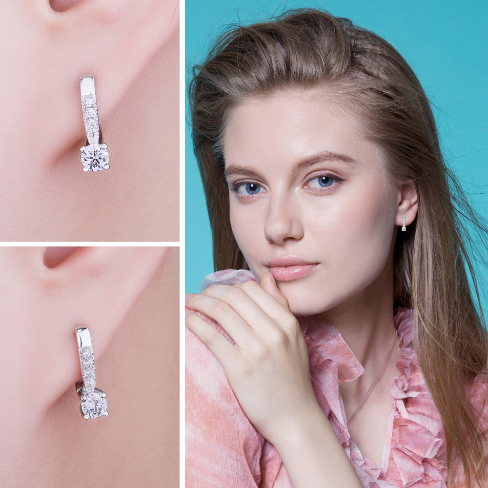 JewelryPalace Zirkonia Creolen 925 Sterling Silber Ohrringe Für - Modeschmuck - Foto 4