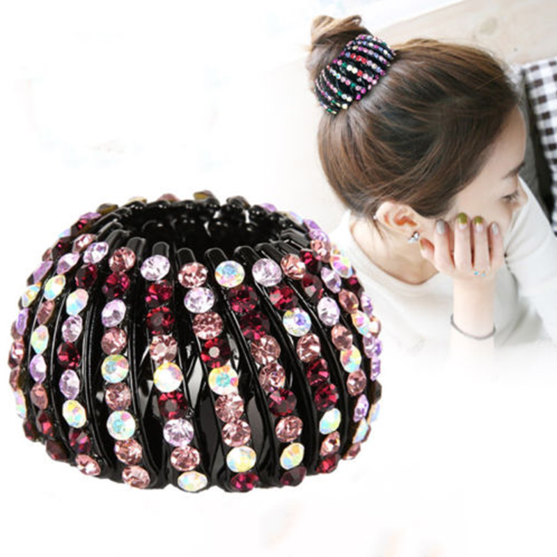 1pc Nest Shape Ponytail Holder Hair Clip Rhinestone Women Hair Claw Girls Round Balls Curly Hair Accessories Tool M .L. Size