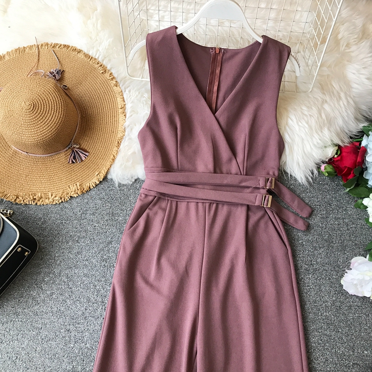 ALPHALMODA 2019 Spring Ladies Sleeveless Solid Jumpsuits V-neck High Waist Sashes Women Casual Wide Leg Rompers 20