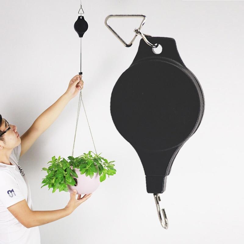 Cesta retráctil para colgar de la polea, colgador extraíble a 20 cm-90 cm, cestas de plástico para el jardín, colgador de la olla, peso máximo 15kg