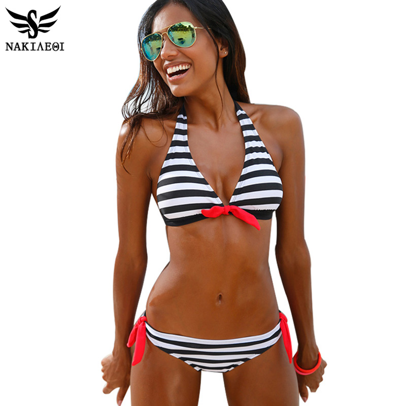 NAKIAEOI 2016 Sexy Bikinis Women Swimsuit Swimwear Halter Top Plaid Brazillian Bikini Set Bathing Suit Summer