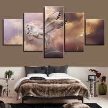 Canvas Wall Printed Art Home Decoration Poster Framework 5 Panel Flying Unicorn For Living Room Modern HD Pictures Painting