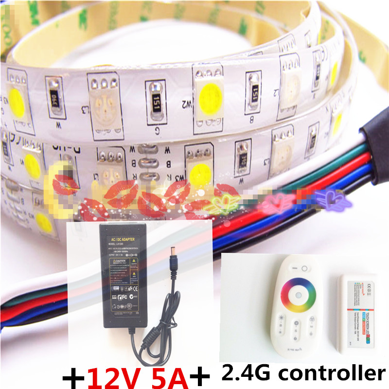 5M Flexible RGBW 5050 SMD LED Strip Light Waterproof DC12V RGB+White Diode Tape +RGBW Remote Controller+ 12V 5A Power Adapter led strip kit led strip light 3528 smd 20m 1200leds dc12v flexible led ribbon diode tape forrf touch remote 78w power supply