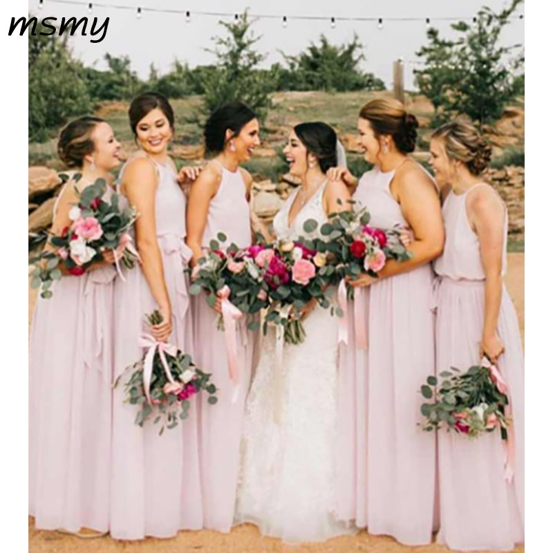 New Simple A-Line Halter   Bridesmaid     Dresses   Sleeveless Chiffion Plest Cheap Long   Bridesmaid     Dresses   Custom Made