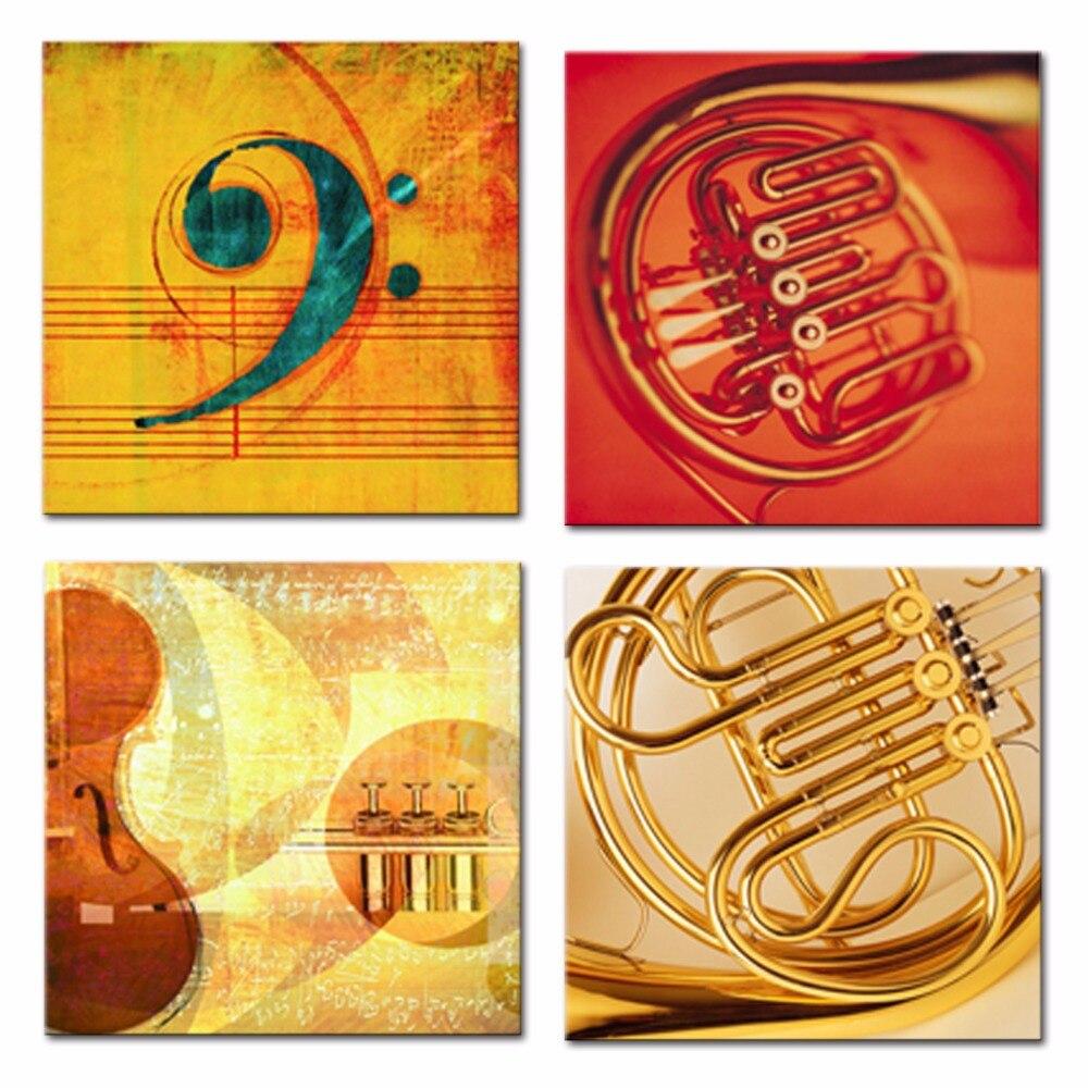 4 Pieces Canvas Prints Music Score Modern Music Instrument Guitar ...