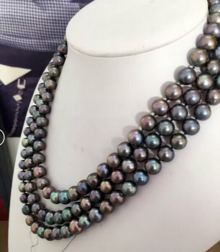 stunning triple strands 10mm tahitian tmulticolor pearl necklace171819 >free shippingstunning triple strands 10mm tahitian tmulticolor pearl necklace171819 >free shipping