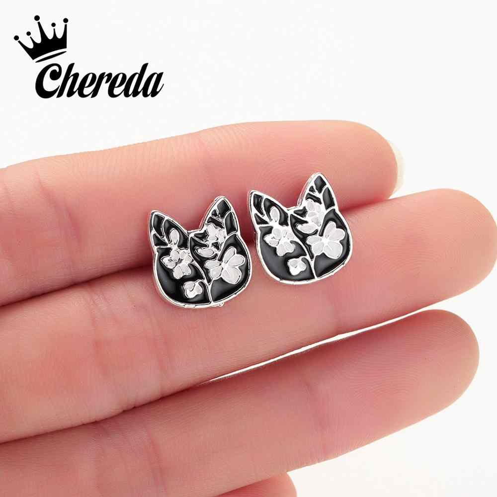 Chereda Plum Blossom Flower Stud Earring Women Cat Cute Drop Glaze Black Earrings Studs Accessories