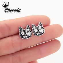 Chereda Plum Blossom Flower Stud Earring Women Cat Cute Drop Glaze Black Earrings Studs Accessories