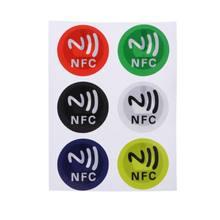 Adesivo nfc à prova d'água 6 peças, material de estimação, etiquetas ntag213 inteligente para todos os telefones