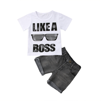 2PCS Toddler Kids Boy Clothes Summer Short Sleeve Cotton T-shirt Tops+Denim Shorts Jean Outfit Kids Clothing Set 1-6Y 1