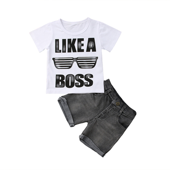 Ensemble 2 pièces Bébé T-shirt coton Shorts Jean 1-6 ans
