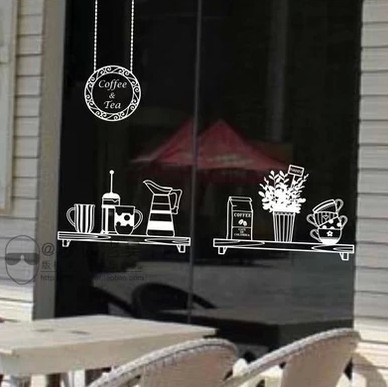 Coffee tea bake shop store glass wall window sticker service tips banners store adhesive advertising poster wall sticker in wall stickers from home garden