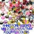 Rhinestones de la resina 5000 unids colores mezclados Mix 2 mm - 7 mm pegamento en Strass recortar perlas de la belleza 3D Nail Art DIY decoraciones taladro del palillo