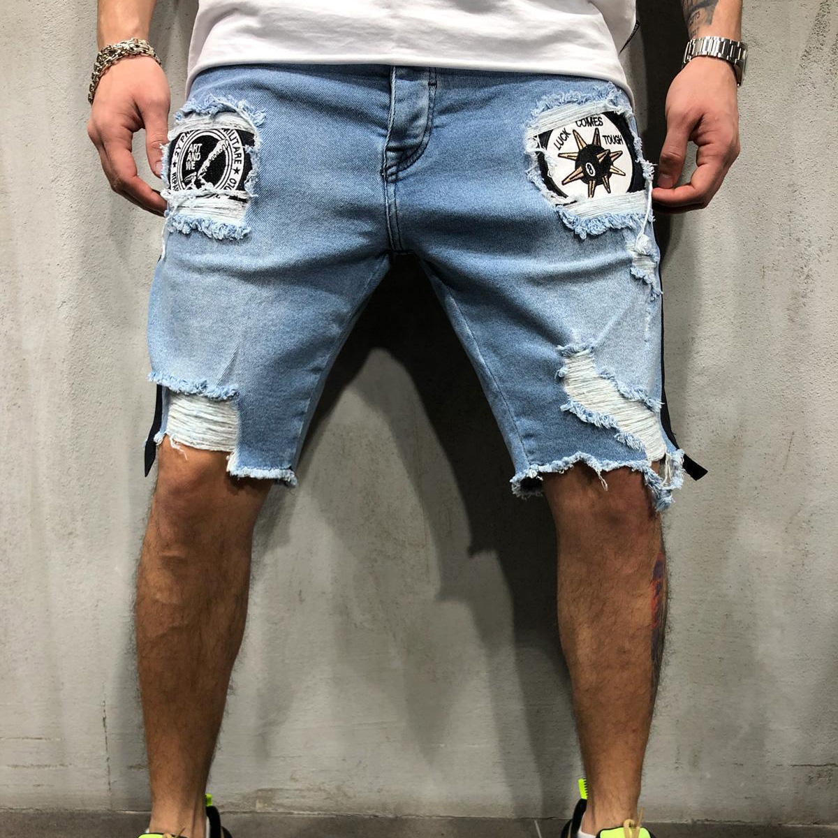 New Men hole embroidered Short   jeans   Slim knee length 2019 male Casual Thin Summer Denim Pants Classic