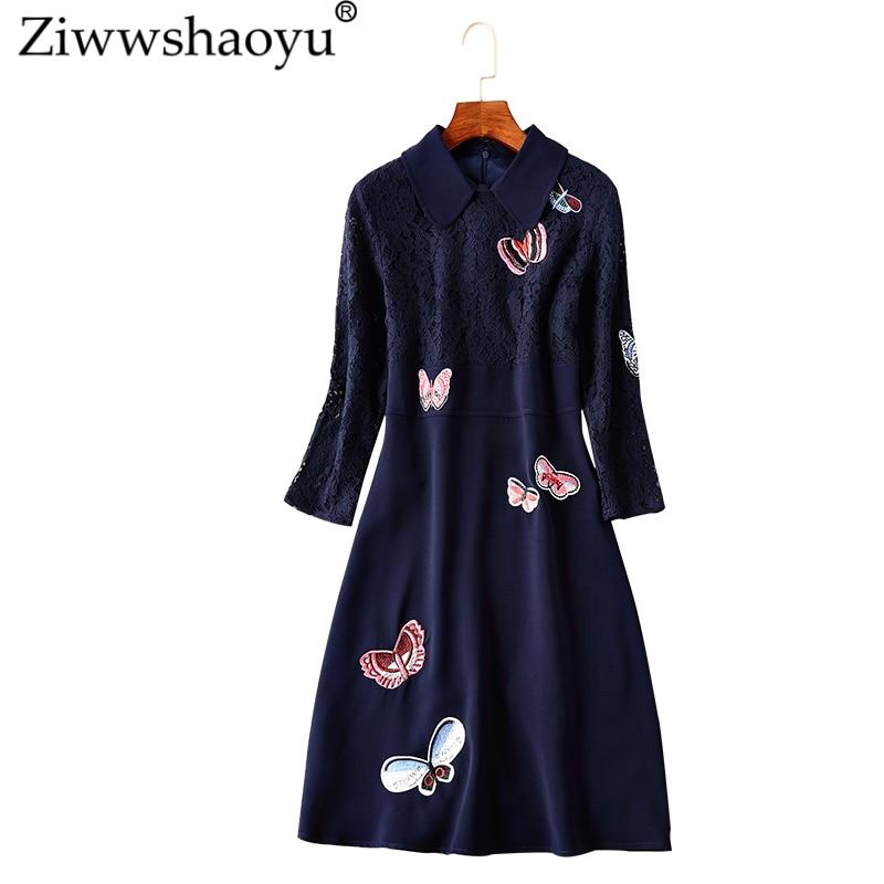 Ziwwshapyu 2018 autumn runway new dress Vintage Peter pan Collar A Line Embroidery Lace Patchwork elegant dress