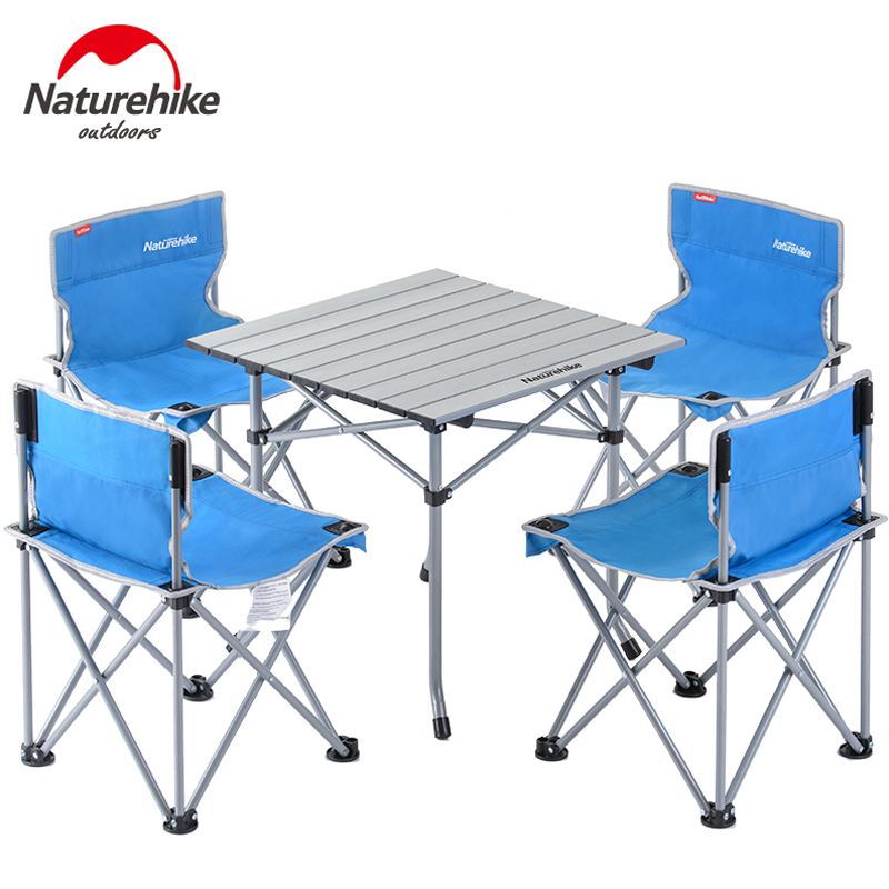 Outdoor Camping Chair Table Set Portable Foldable Table Beach Chair for Picnic BBQ Hiking king camp комплект 3850 table chair set серый