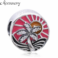 Moonmory Tropical Sunset Silver Charm 925 Sterling Silver Bead With CZ Colorful Enamel Fit Pandora Bracelet