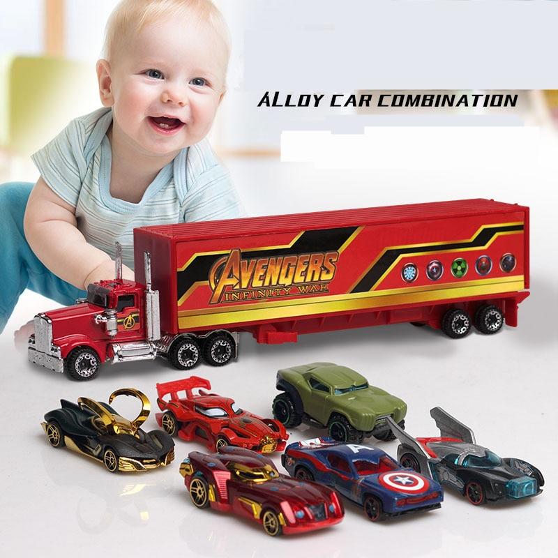 7pcs/set The Avengers Iron Hulk Loki Spider-man Captain America Batman Batmobile Alloy Cars Set Truck Model Toys For Children