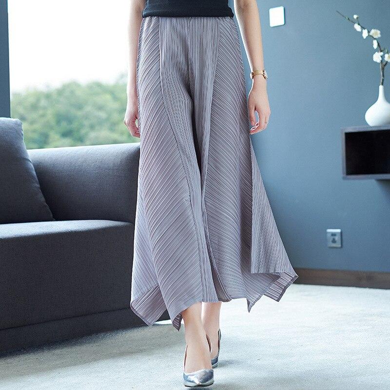 LANMREM Solid Color Folds Irregular Wide Leg Nine Pants Casual Fashion Loose Plus Women 2019 Autumn New TC904