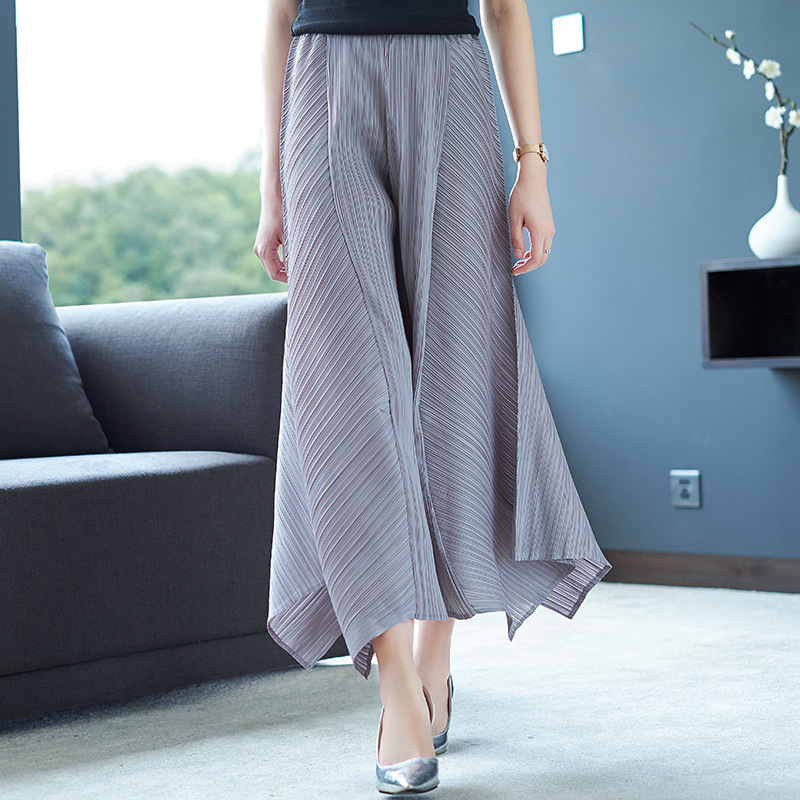 LANMREM Solid Color Folds Irregular Wide Leg Nine Pants Casual Fashion Loose Plus Women 2020 Spring New TC904