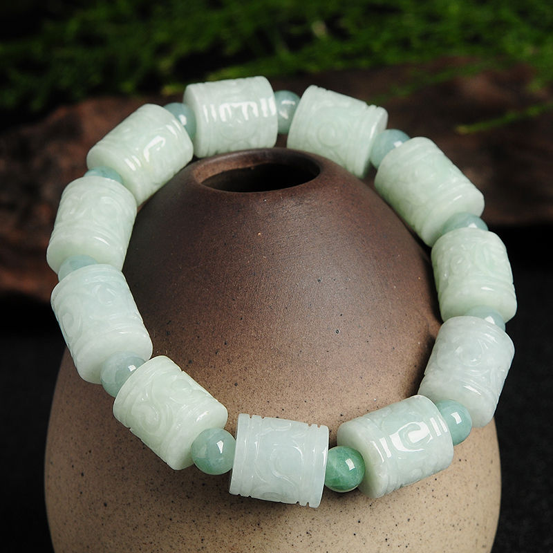 Natural Grade A Jadeite Carved Tube Beads Bracelet 20cm LengthNatural Grade A Jadeite Carved Tube Beads Bracelet 20cm Length