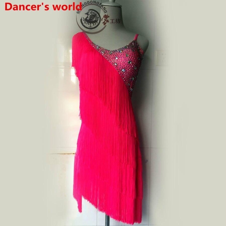 Customizable Colors Tassel Latin Dance Dress Women Dancing Dress Shoulder Style Back Opening Latino Costumes For Salsa Tango