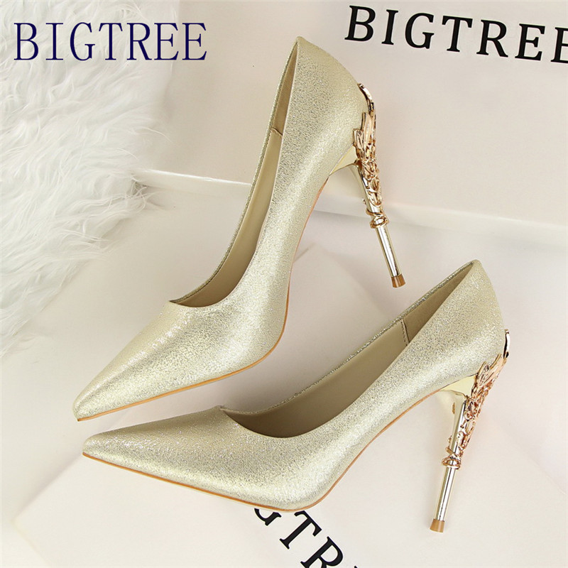 BIGTREE Women Pumps Elegant Metal Carved Heels Solid Silk Pointed Toe Shallow Fashion High Heels 10cm Shoes Women Wedding Shoe bigtree spring autumn silk women pumps shallow mouth pointed shiny rhinestones 10 5 cm fine high heels shoes