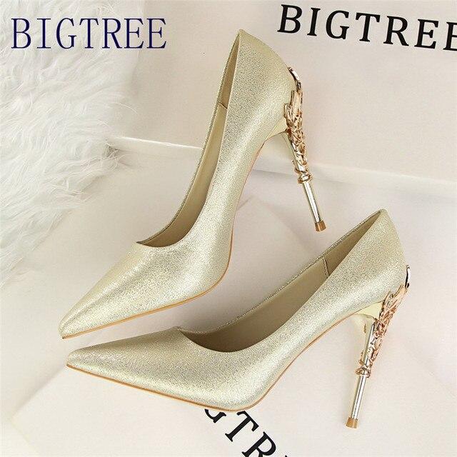 fdba4b77281 BIGTREE Women Pumps Elegant Metal Carved Heels Solid Silk Pointed Toe  Shallow Fashion High Heels 10cm Shoes Women Wedding Shoe
