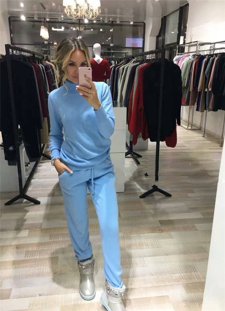 2019 Wool Full New Tracksuits Two Piec Set Cashmere Suits Female High-necked Sweater + Pants Knitted 2 Sets