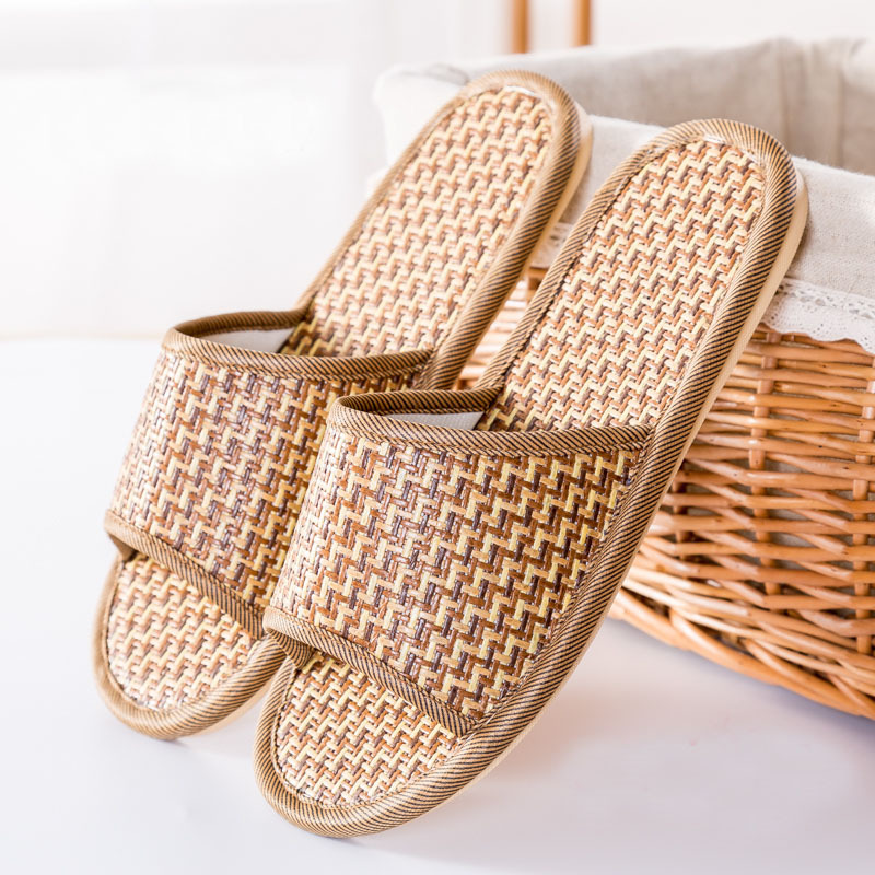 IVI cane Shoes Summer Flax open toe linen Slipper Home Indoor Antiskid Men And Women Rattan