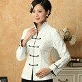 Тенденции моды Белые Женщины Белье Хлопок Тан Костюм Китайский Классический Пиджак с Длинными Рукавами Clothing Пальто Размер Sml XL XXL XXXL T019