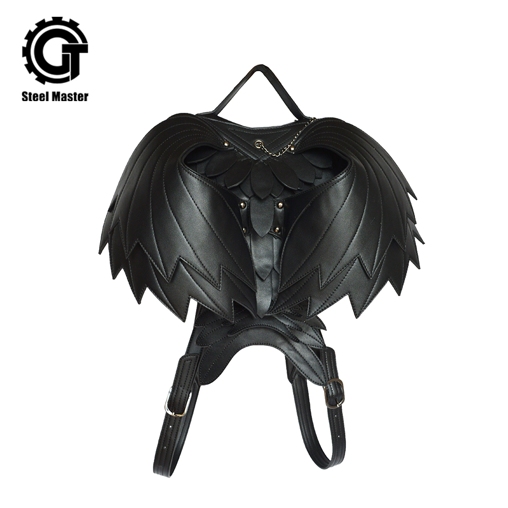 Steel Master Steampunk Backpack Wings Backpacks Large Capacity Daypacks Rivet Leather Gothic Bag Casual Travel Bags