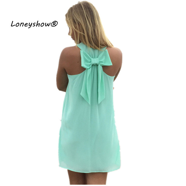 Women Dress 2017 New Style Summer Dress Casual Beach Dress 7 Colors Tunic Sleeveless Chiffon Back Bow Vestido de renda