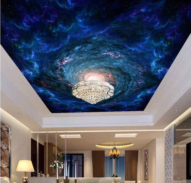 Custom papel DE parede 3 d, the universe stars and black holes for the living room bedroom ceiling wall waterproof wallpaper custom ceiling wallpaper blue sky and white clouds landscape murals for the living room bedroom ceiling wall papel de parede