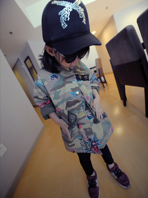 Free shipping Children's clothes new arival spring children dust coat  boy long camouflage jacket girl's outerwear