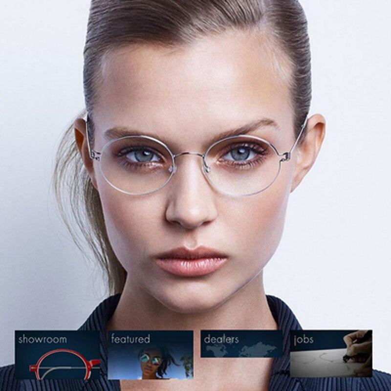 Sans vis pure titanium verres ronds cadre femmes myopie yeux cadre hommes rétro cadre complet ultra lumière manuel cadre
