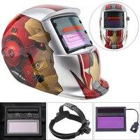 Homem De Ferro prata Ajustar Solar Auto Escurecimento TIG MIG Soldagem De Moagem capacetes/Máscara Facial/Máscara de Solda Elétrica/Cap Solda