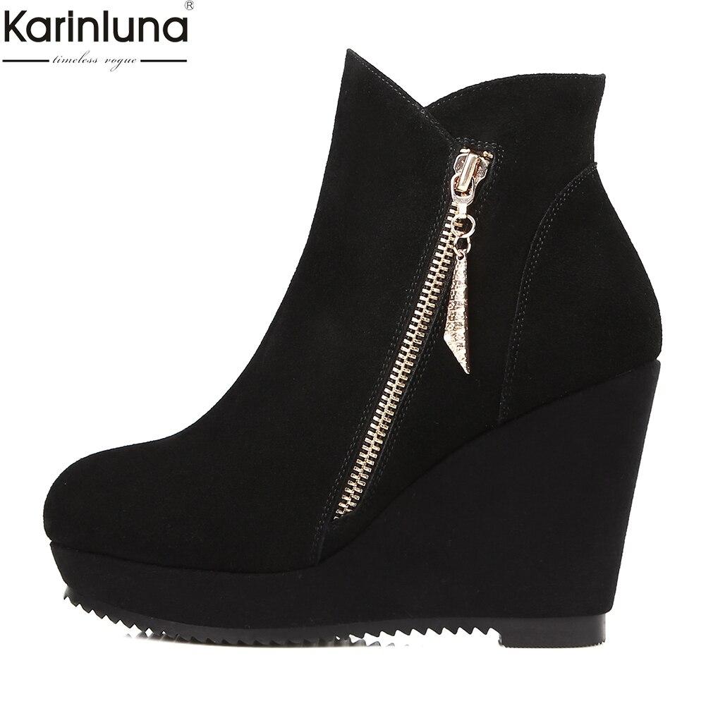 632dbc2e569 Tacón Cuña Cuero Alto Marca Karinluna Plataforma De Negro Zapatos Botas  Mujer Nave Gamuza Vaca Nueva yAyqSpW8
