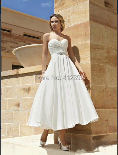 Popular Cheap Tea Length Wedding Dress-Buy Cheap Cheap Tea Length ...