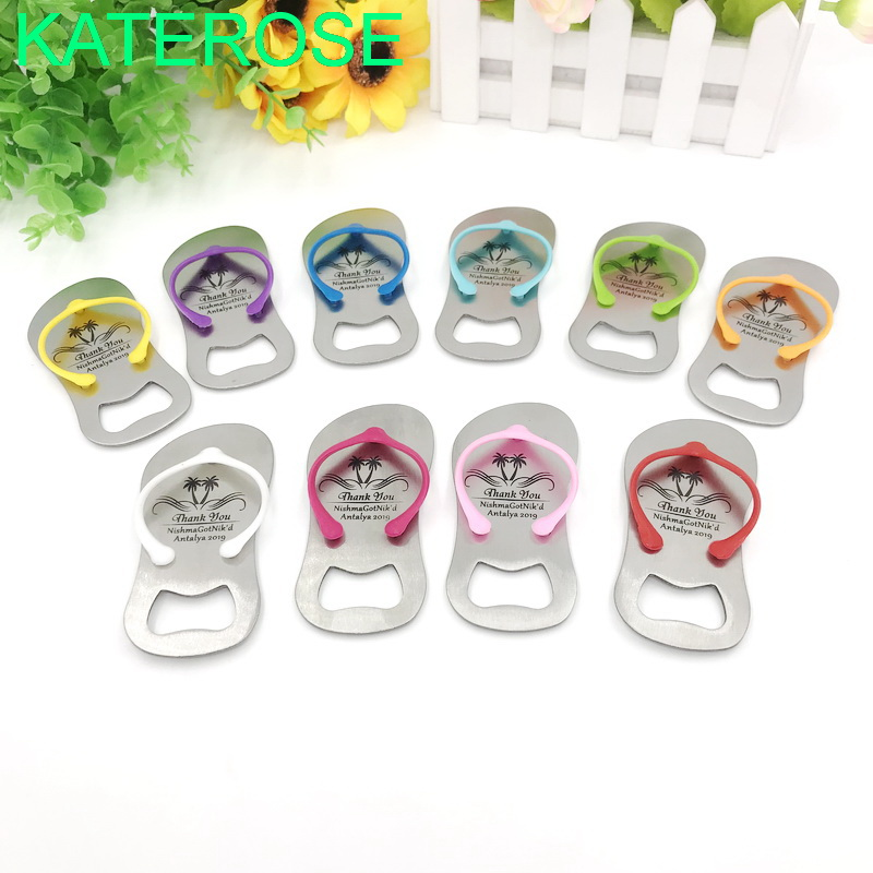 50PCS Customized Flip Flop Bottle Opener DIY LOGO Beer Openers MIX Colors Available Personalized Wedding Favors