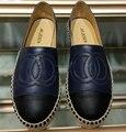 Синий Черный Мода Конопли Веревки Женская Обувь Slip-On Casaul Обувь Весна Лето Дышащие Плоские Туфли ЕС 35-41