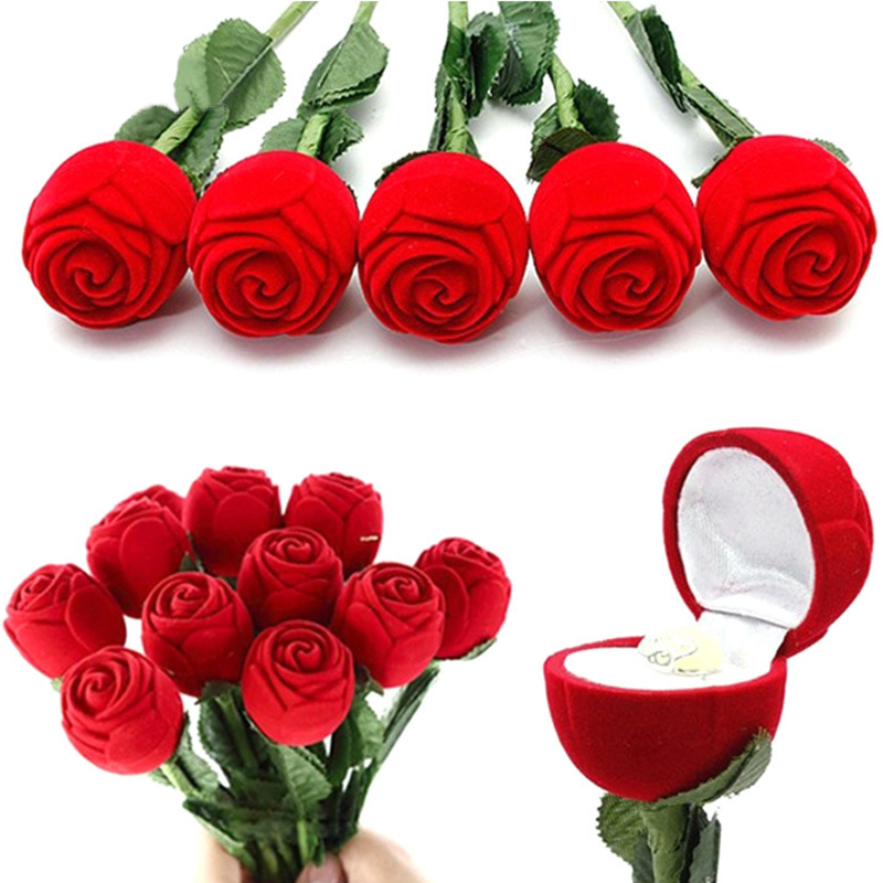 Artificial Flower Red Rose Romantic Rose Engagement Wedding Earring Ring Pendant Jewelry Display Gift Box