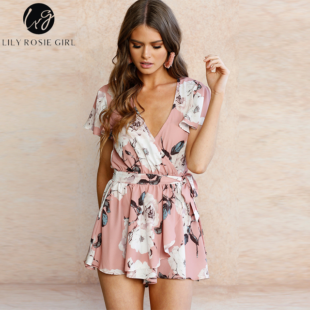 Lily Rosie Girl Boho Floral Print Pink Playsuits Women V Neck Short Sleeve Jumpsuit Belt Summer Party Beach Rompers Overalls