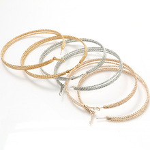 Vintage Hoop Earrings  Personality Simple Metal 3 Layers Geometric Scrub For Women Fashion Jewelry Accessories