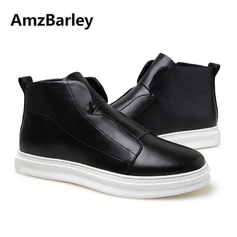 купить AmzBarley Mens Shoes Flat Hip Hop High Top Casual Ankle White Man Zipper Footwear Zapatos Hombre Autumn Winter Fashion по цене 2790.14 рублей