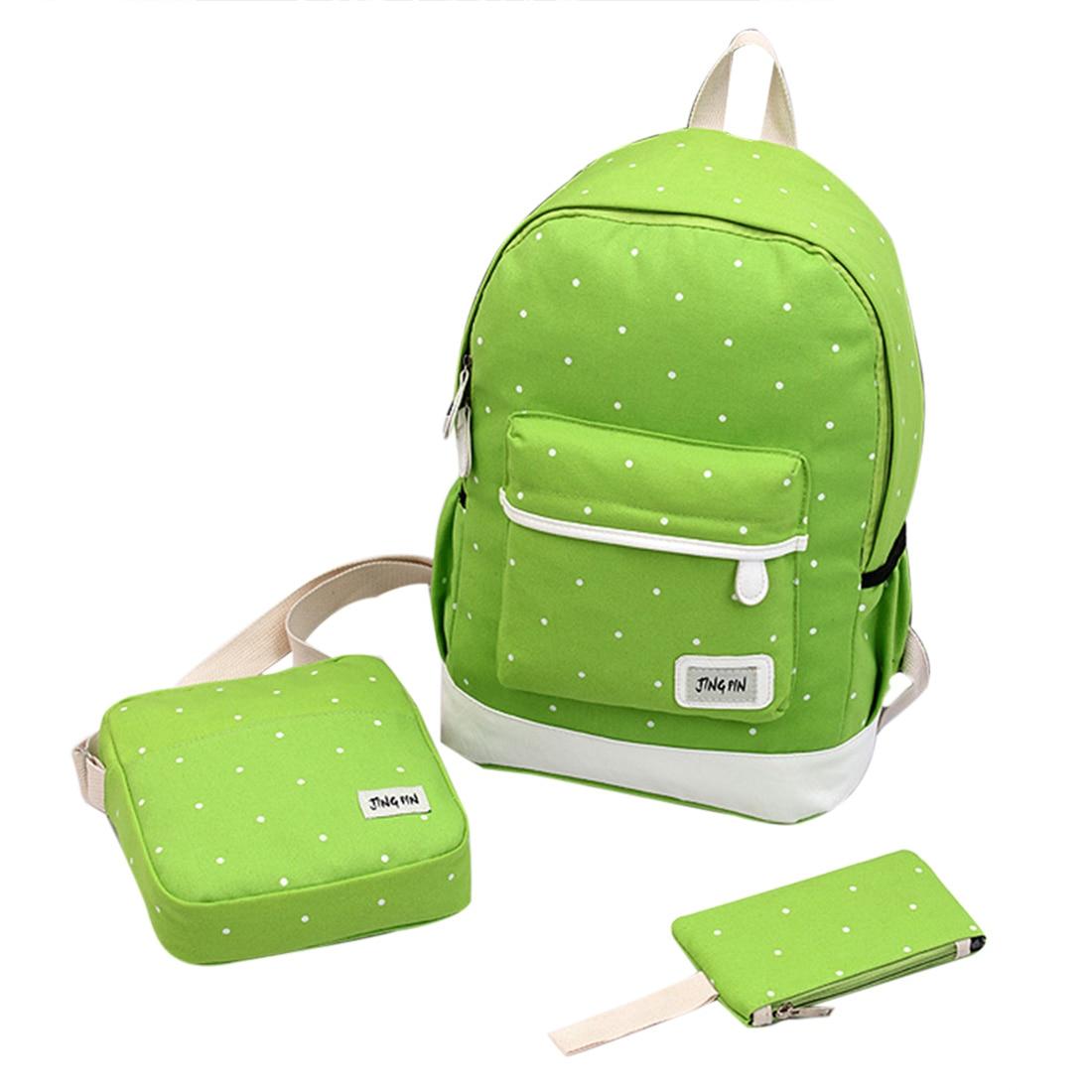 Puimentiua School-Bag Canvas Backpack Water-Proof Student Unisex 1set New 3pcs