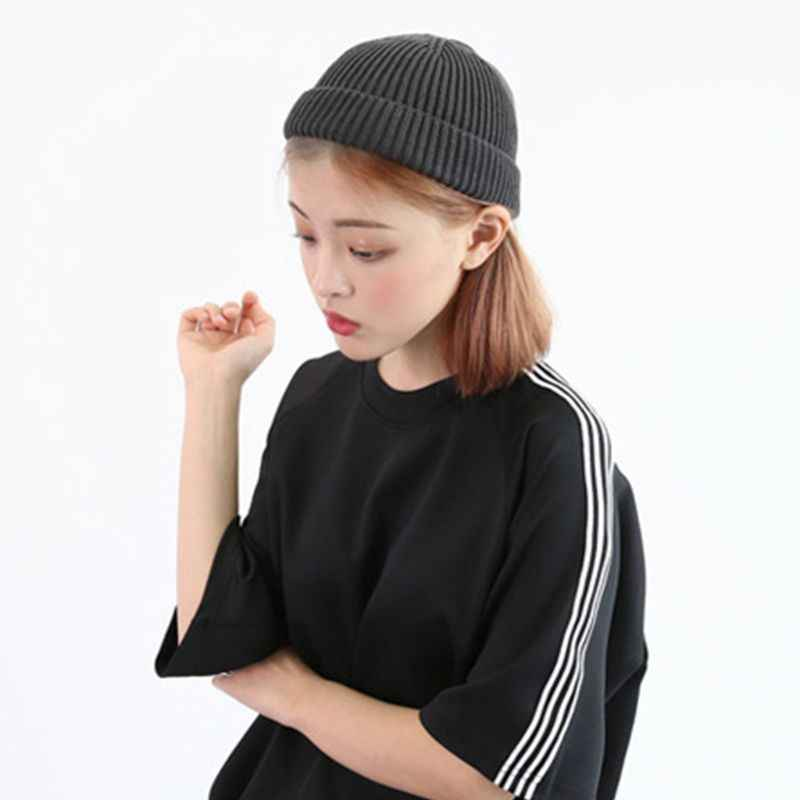 08511d6536c Detail Feedback Questions about Women Unisex Winter Ribbed Knitted Short  Melon Cuffed Solid Color Single Flanging Skullcap Baggy Retro Beanie  Slouchy Hip ...
